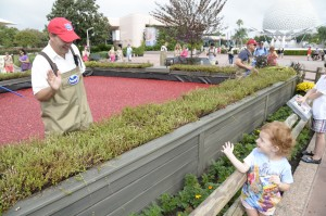 Ocean Spray Grower Todd May with a young guest