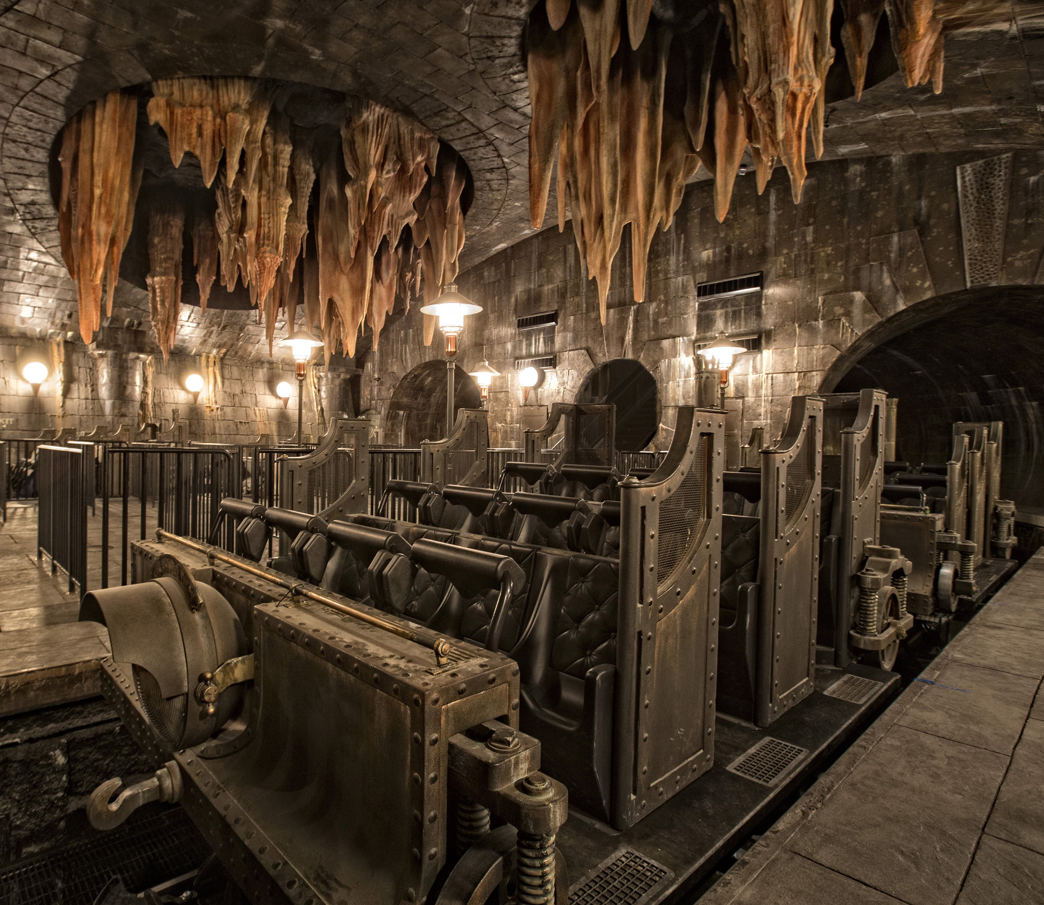 The multi-dimensional, multi-sensory attraction, Harry Potter and the Escape from Gringotts. Height Restriction 42 inches.